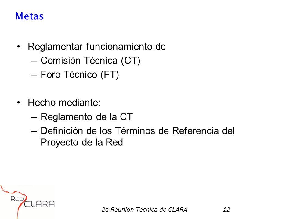 2a Reunión Técnica de CLARA12 Metas Reglamentar funcionamiento de –Comisión Técnica (CT) –Foro Técnico (FT) Hecho mediante: –Reglamento de la CT –Definición de los Términos de Referencia del Proyecto de la Red