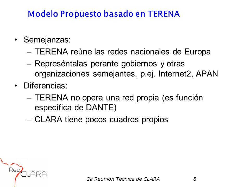 2a Reunión Técnica de CLARA8 Modelo Propuesto basado en TERENA Semejanzas: –TERENA reúne las redes nacionales de Europa –Represéntalas perante gobiernos y otras organizaciones semejantes, p.ej.