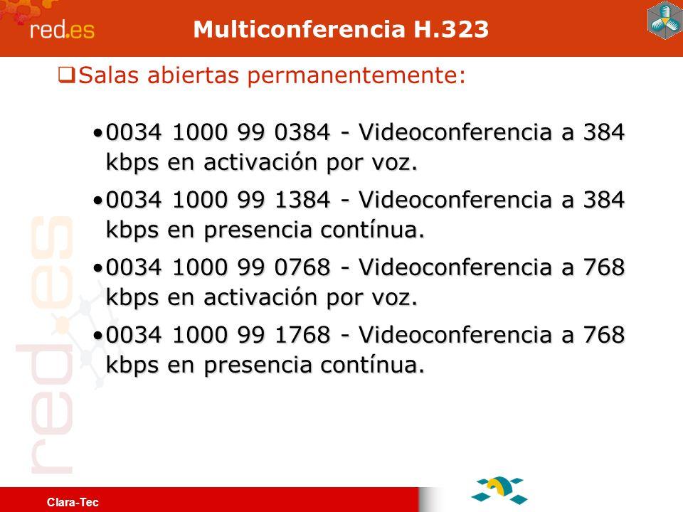 Clara-Tec RedIRIS-TV Emisión permanente en alta calidad y media calidad Alta calidad en multicast - mpeg-2Alta calidad en multicast - mpeg-2 Media calidad unicast – wmv 500kbpsMedia calidad unicast – wmv 500kbps Basado en software de libre distribución vlc Escasos contenidos todavía En pruebas en la actualidad vlc --intf dummy --extraintf http --http-host ipserver:puertoadmin --ttl 127 file:lista.m3u \ --sout= #duplicate{dst=std{access=udp,mux=ts,url=ipmulticast},dst=\ std{access=http,mux=ts,url=ipserver:puertostreamhttp}} #EXTM3U file:///home2/videos/entradilla.mpg # testimoniales campania todos.es file:///home2/videos/todos.es.mpg file:///home2/videos/cortinilla.mpg # video promocional Geant traducido a castellano por CESGA dvd:///home2/videos/geant/ vlc:quit