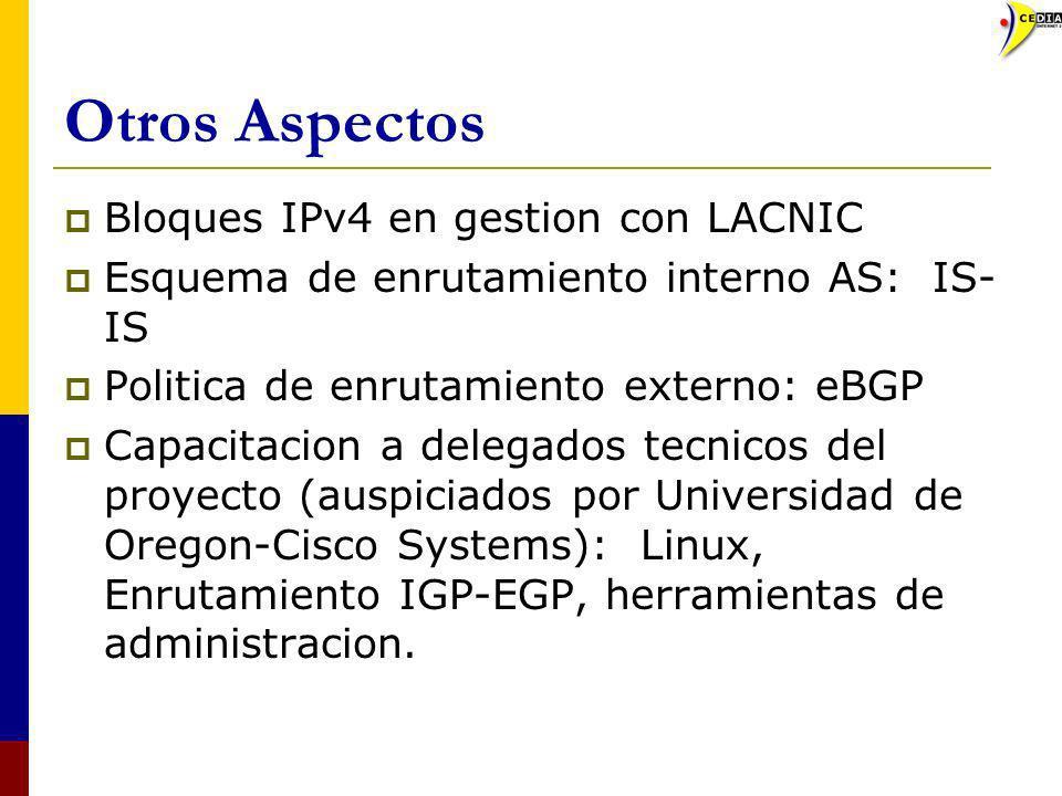 Otros Aspectos Bloques IPv4 en gestion con LACNIC Esquema de enrutamiento interno AS: IS- IS Politica de enrutamiento externo: eBGP Capacitacion a del