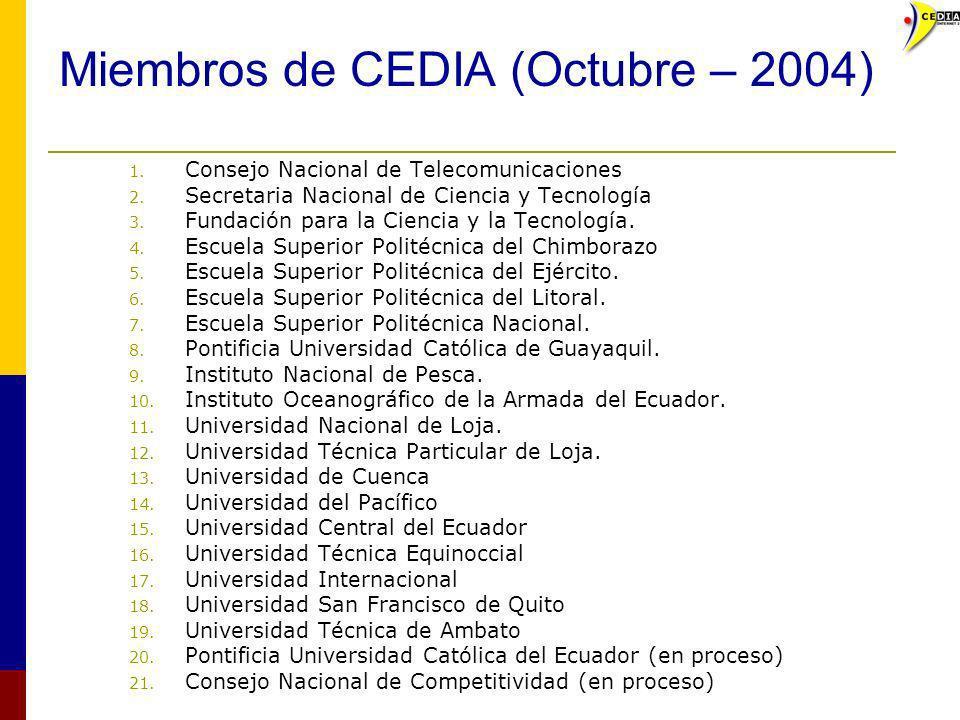 Miembros de CEDIA (Octubre – 2004) 1. Consejo Nacional de Telecomunicaciones 2. Secretaria Nacional de Ciencia y Tecnología 3. Fundación para la Cienc