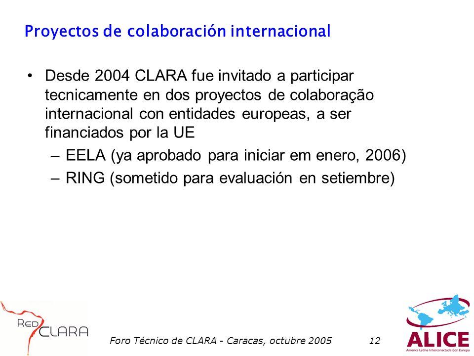 Foro Técnico de CLARA - Caracas, octubre 200512 Proyectos de colaboración internacional Desde 2004 CLARA fue invitado a participar tecnicamente en dos proyectos de colaboração internacional con entidades europeas, a ser financiados por la UE –EELA (ya aprobado para iniciar em enero, 2006) –RING (sometido para evaluación en setiembre)