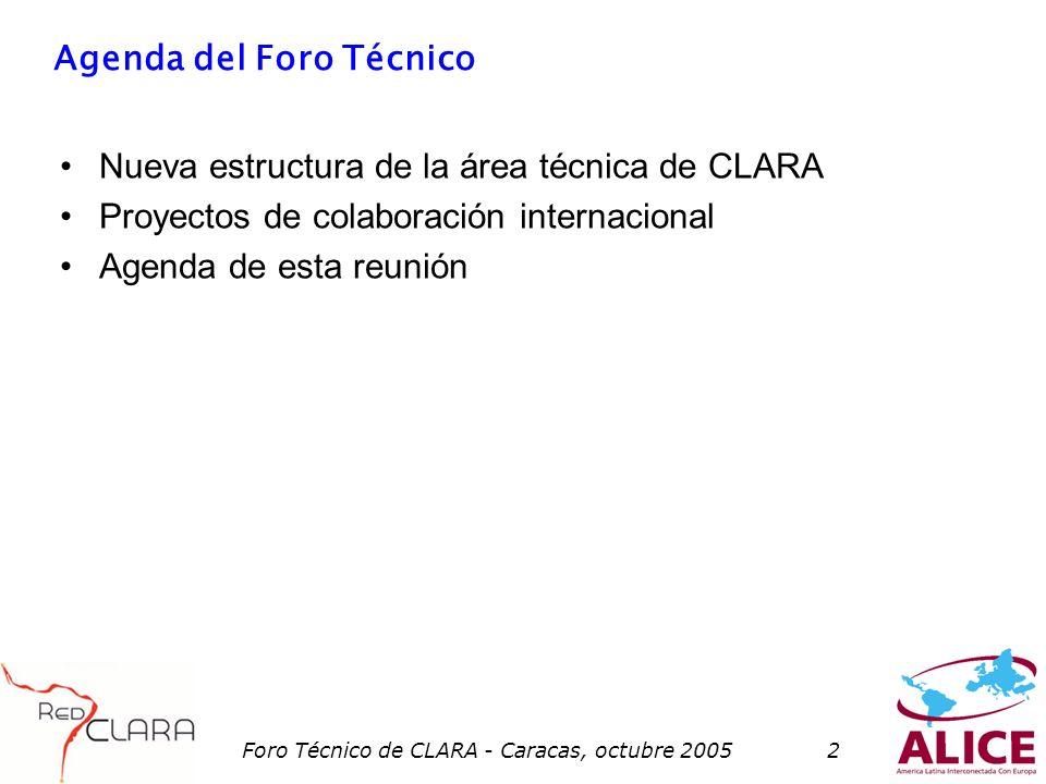 Foro Técnico de CLARA - Caracas, octubre 20052 Agenda del Foro Técnico Nueva estructura de la área técnica de CLARA Proyectos de colaboración internacional Agenda de esta reunión
