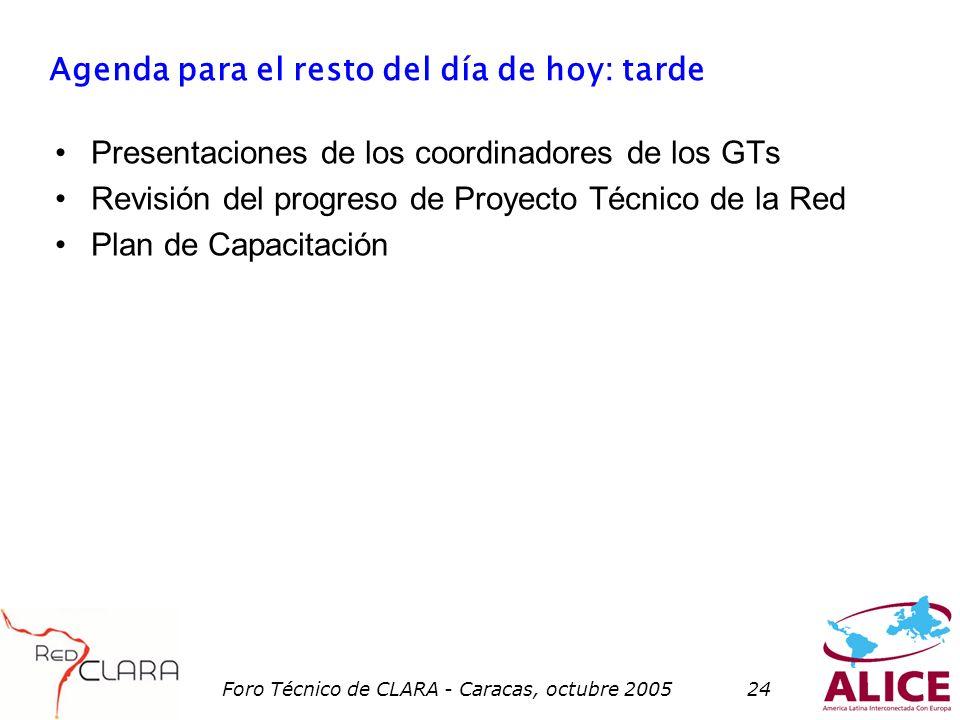 Foro Técnico de CLARA - Caracas, octubre 200524 Agenda para el resto del día de hoy: tarde Presentaciones de los coordinadores de los GTs Revisión del progreso de Proyecto Técnico de la Red Plan de Capacitación