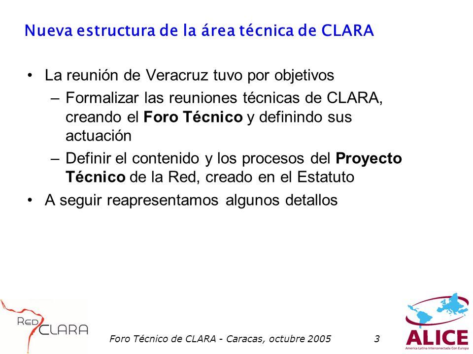Foro Técnico de CLARA - Caracas, octubre 20053 Nueva estructura de la área técnica de CLARA La reunión de Veracruz tuvo por objetivos –Formalizar las reuniones técnicas de CLARA, creando el Foro Técnico y definindo sus actuación –Definir el contenido y los procesos del Proyecto Técnico de la Red, creado en el Estatuto A seguir reapresentamos algunos detallos