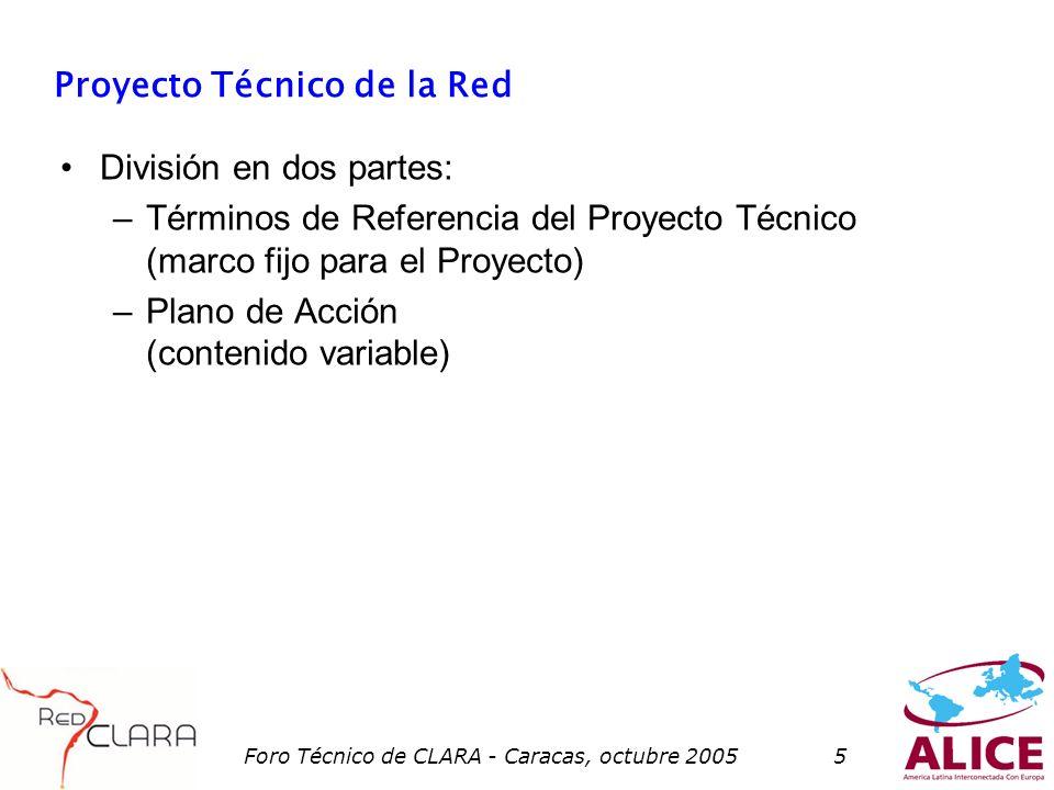 Foro Técnico de CLARA - Caracas, octubre 20055 Proyecto Técnico de la Red División en dos partes: –Términos de Referencia del Proyecto Técnico (marco fijo para el Proyecto) –Plano de Acción (contenido variable)