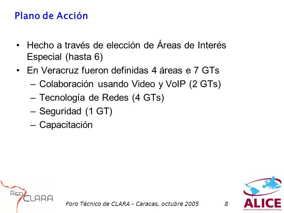 Foro Técnico de CLARA - Caracas, octubre 20058 Plano de Acción Hecho a través de elección de Áreas de Interés Especial (hasta 6) En Veracruz fueron definidas 4 áreas e 7 GTs –Colaboración usando Video y VoIP (2 GTs) –Tecnología de Redes (4 GTs) –Seguridad (1 GT) –Capacitación