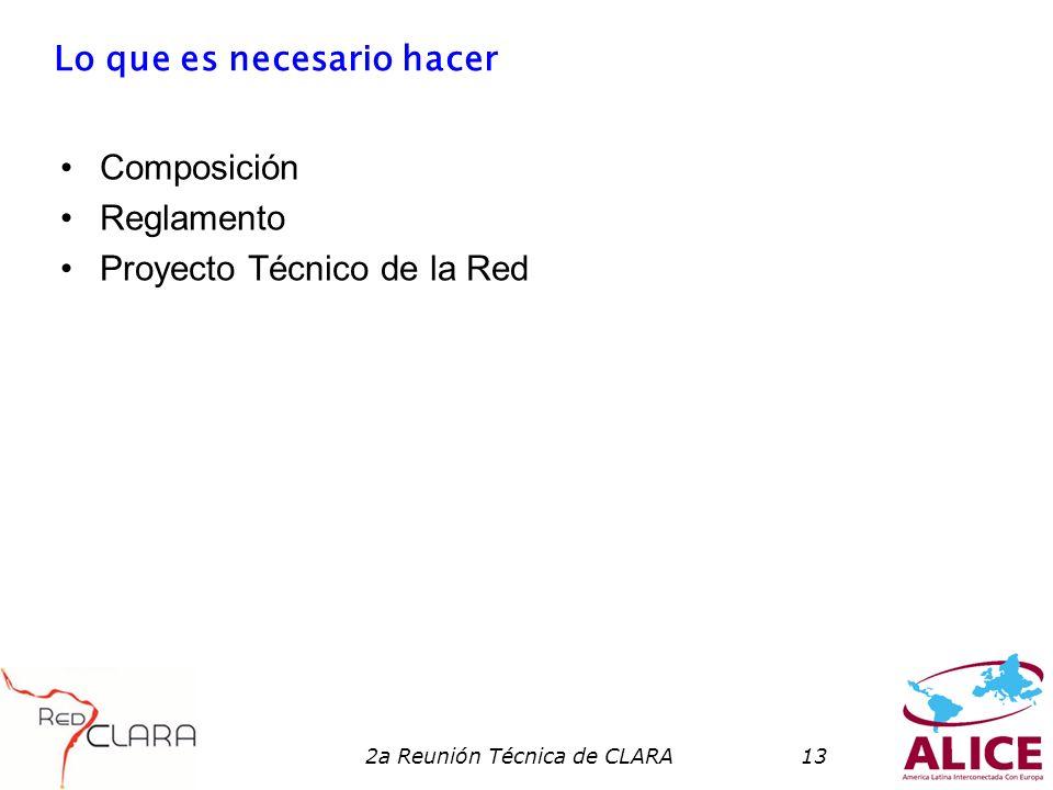2a Reunión Técnica de CLARA13 Lo que es necesario hacer Composición Reglamento Proyecto Técnico de la Red
