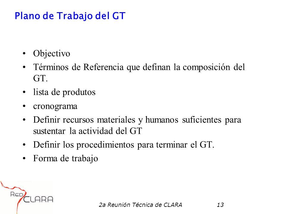 2a Reunión Técnica de CLARA13 Plano de Trabajo del GT Objectivo Términos de Referencia que definan la composición del GT. lista de produtos cronograma