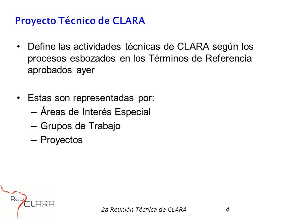 2a Reunión Técnica de CLARA4 Proyecto Técnico de CLARA Define las actividades técnicas de CLARA según los procesos esbozados en los Términos de Referencia aprobados ayer Estas son representadas por: –Áreas de Interés Especial –Grupos de Trabajo –Proyectos