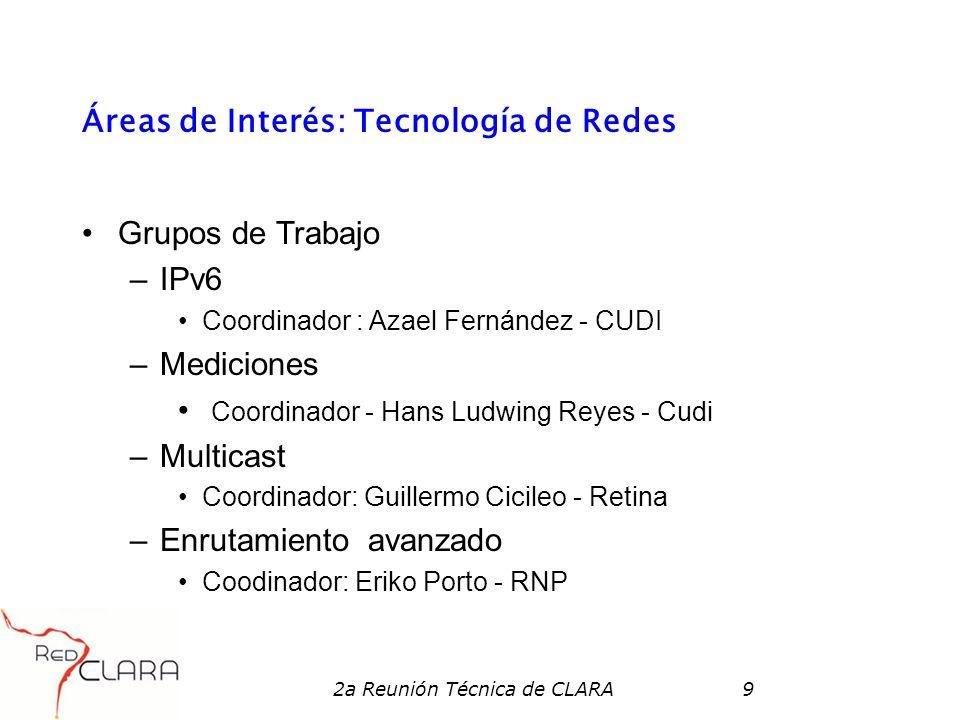 2a Reunión Técnica de CLARA9 Áreas de Interés: Tecnología de Redes Grupos de Trabajo –IPv6 Coordinador : Azael Fernández - CUDI –Mediciones Coordinado