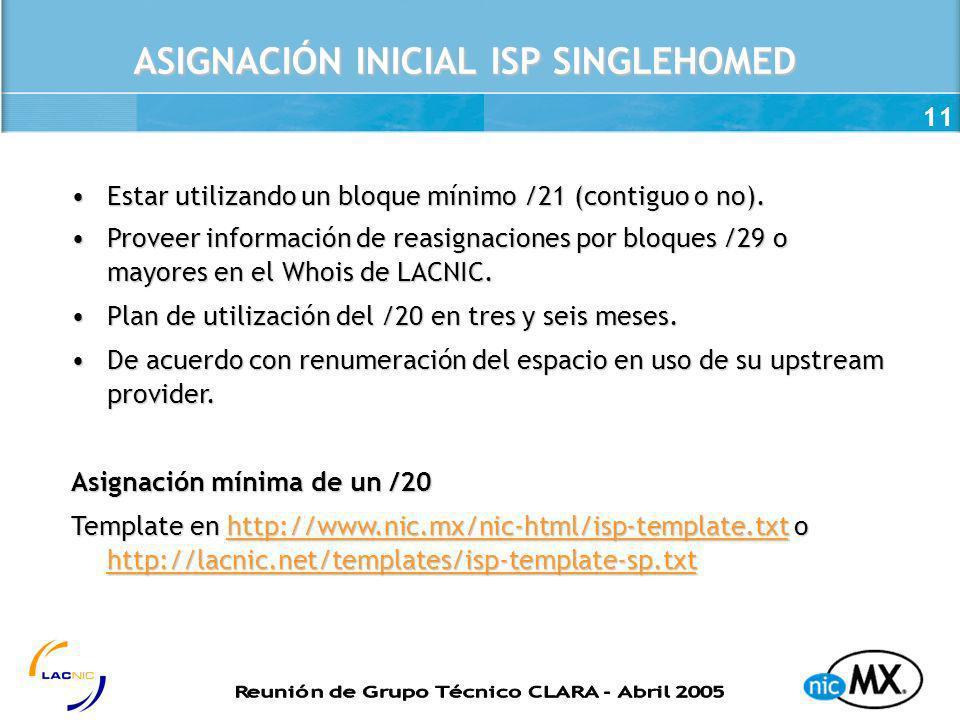 11 ASIGNACIÓN INICIAL ISP SINGLEHOMED Estar utilizando un bloque mínimo /21 (contiguo o no).Estar utilizando un bloque mínimo /21 (contiguo o no). Pro