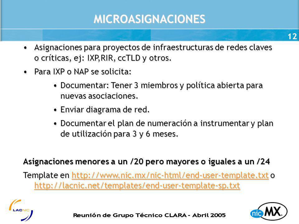 12MICROASIGNACIONES Asignaciones para proyectos de infraestructuras de redes claves o críticas, ej: IXP,RIR, ccTLD y otros.Asignaciones para proyectos