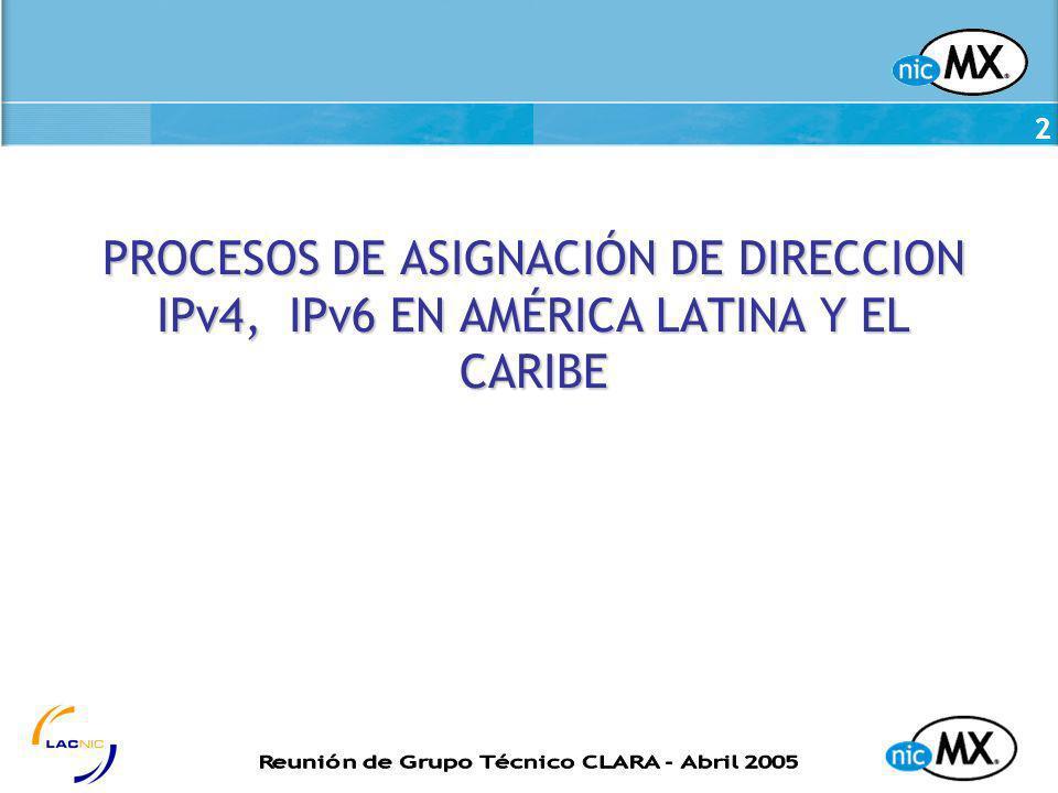 2 PROCESOS DE ASIGNACIÓN DE DIRECCION IPv4, IPv6 EN AMÉRICA LATINA Y EL CARIBE