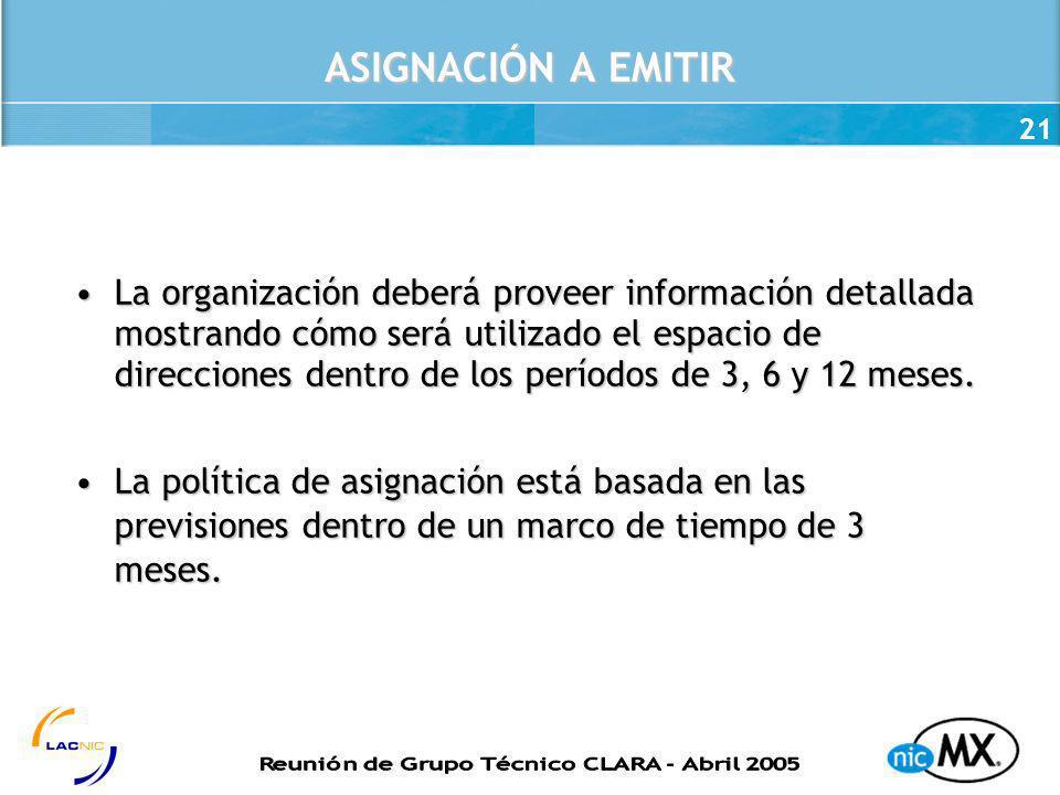 21 ASIGNACIÓN A EMITIR La organización deberá proveer información detallada mostrando cómo será utilizado el espacio de direcciones dentro de los perí