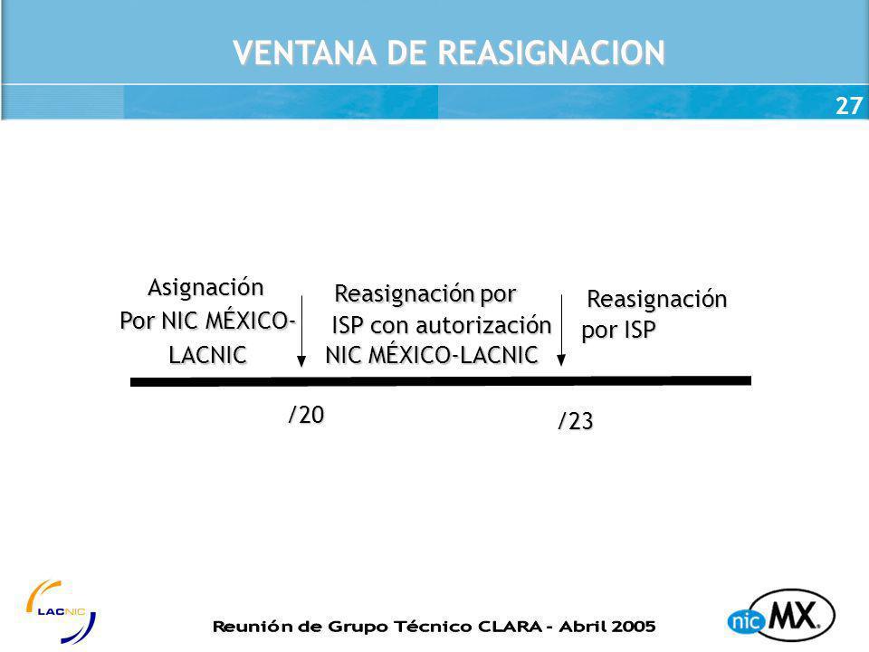 27 VENTANA DE REASIGNACION /23 /20 Asignación Por NIC MÉXICO- LACNIC Reasignación por ISP con autorización NIC MÉXICO-LACNIC NIC MÉXICO-LACNIC Reasign
