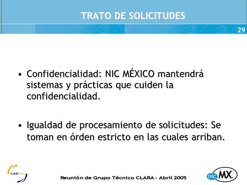 29 TRATO DE SOLICITUDES Confidencialidad: NIC MÉXICO mantendrá sistemas y prácticas que cuiden la confidencialidad.Confidencialidad: NIC MÉXICO manten