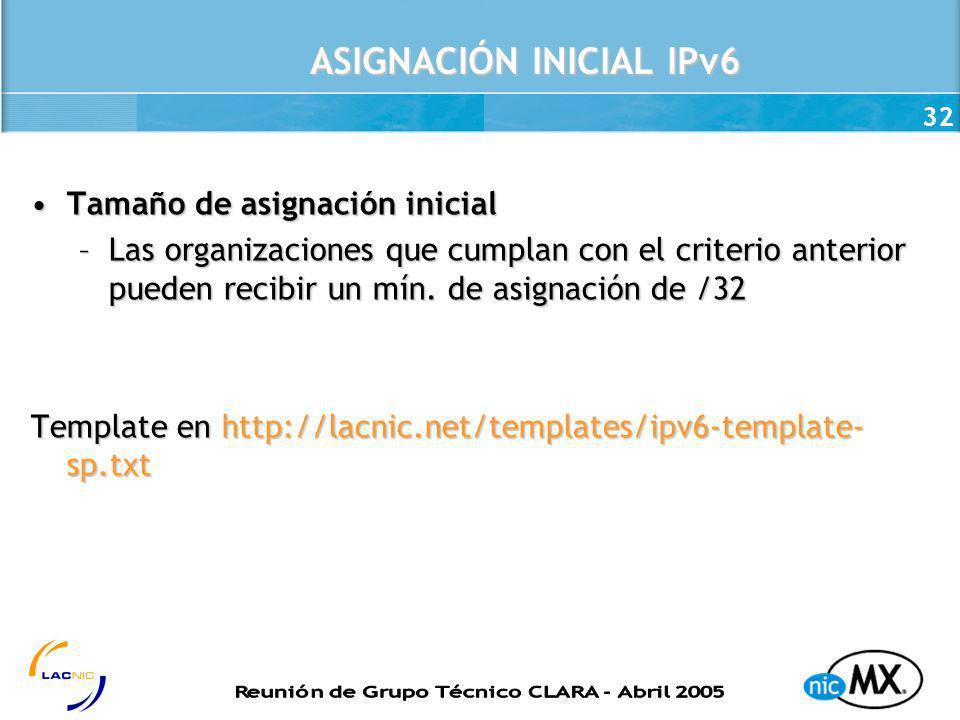 32 ASIGNACIÓN INICIAL IPv6 Tamaño de asignación inicialTamaño de asignación inicial –Las organizaciones que cumplan con el criterio anterior pueden re