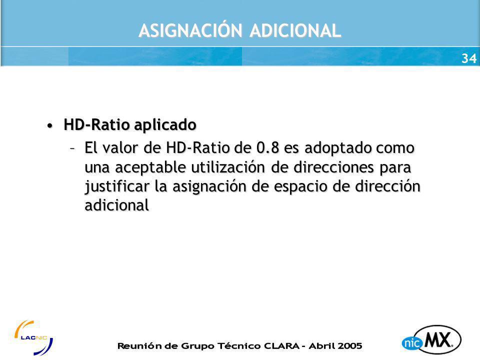 34 ASIGNACIÓN ADICIONAL HD-Ratio aplicadoHD-Ratio aplicado –El valor de HD-Ratio de 0.8 es adoptado como una aceptable utilización de direcciones para