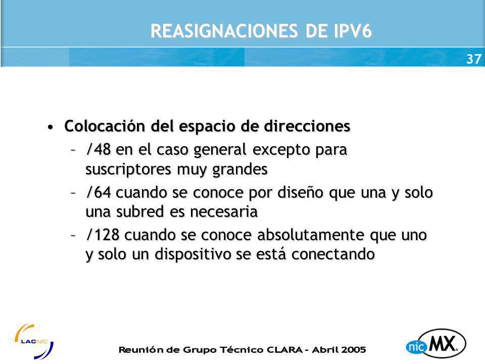 37 REASIGNACIONES DE IPV6 Colocación del espacio de direccionesColocación del espacio de direcciones –/48 en el caso general excepto para suscriptores