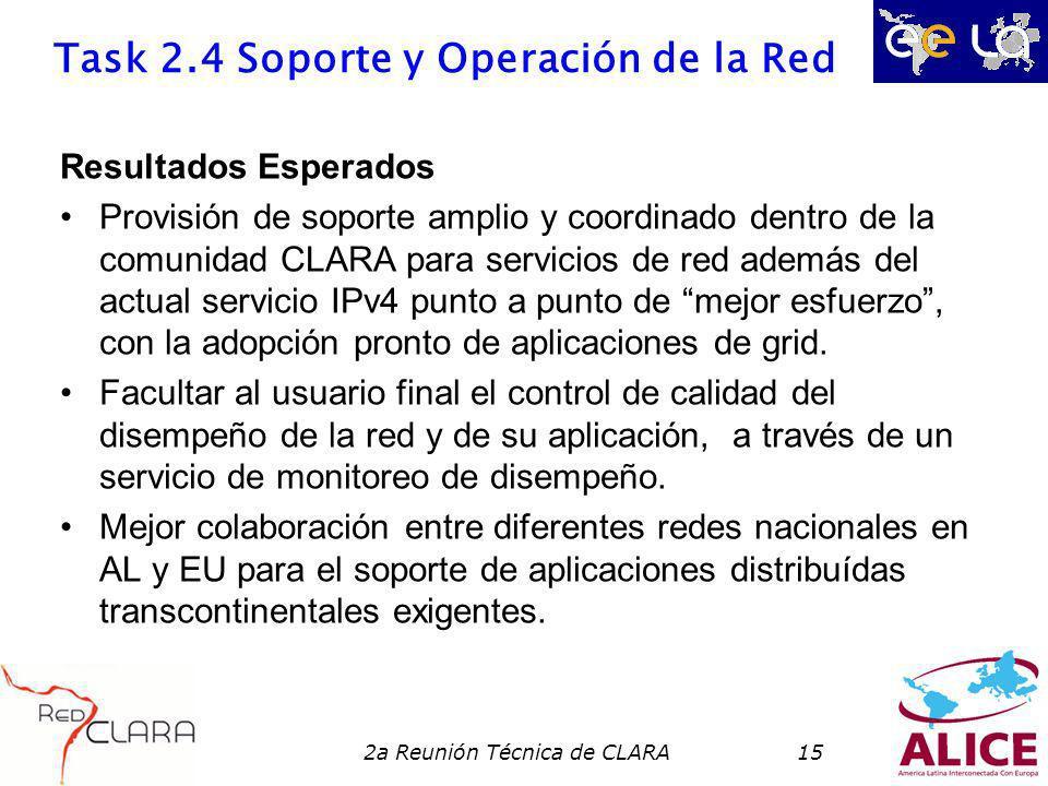 2a Reunión Técnica de CLARA15 Task 2.4 Soporte y Operación de la Red Resultados Esperados Provisión de soporte amplio y coordinado dentro de la comunidad CLARA para servicios de red además del actual servicio IPv4 punto a punto de mejor esfuerzo, con la adopción pronto de aplicaciones de grid.