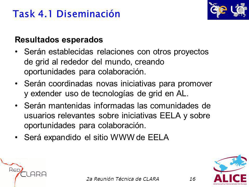 2a Reunión Técnica de CLARA16 Task 4.1 Diseminación Resultados esperados Serán establecidas relaciones con otros proyectos de grid al rededor del mundo, creando oportunidades para colaboración.