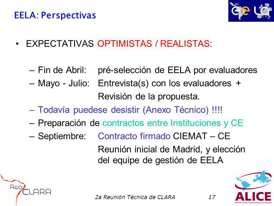 2a Reunión Técnica de CLARA17 EELA: Perspectivas EXPECTATIVAS OPTIMISTAS / REALISTAS: –Fin de Abril:pré-selección de EELA por evaluadores –Mayo - Juli