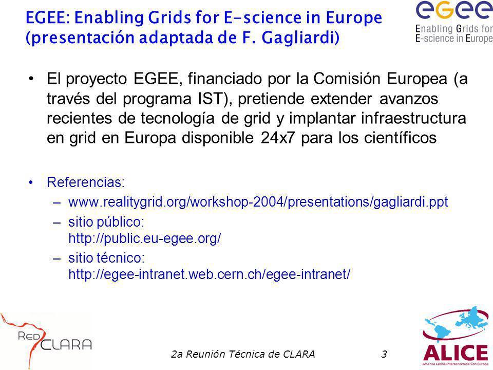 2a Reunión Técnica de CLARA4 Qué es EGEE.