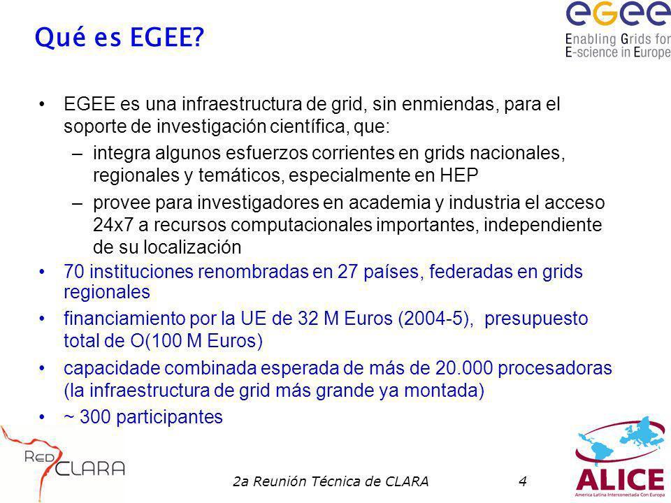 2a Reunión Técnica de CLARA4 Qué es EGEE? EGEE es una infraestructura de grid, sin enmiendas, para el soporte de investigación científica, que: –integ