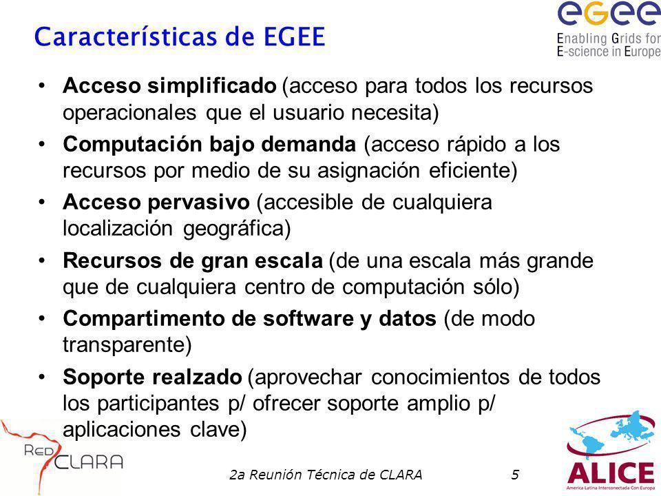 2a Reunión Técnica de CLARA5 Características de EGEE Acceso simplificado (acceso para todos los recursos operacionales que el usuario necesita) Computación bajo demanda (acceso rápido a los recursos por medio de su asignación eficiente) Acceso pervasivo (accesible de cualquiera localización geográfica) Recursos de gran escala (de una escala más grande que de cualquiera centro de computación sólo) Compartimento de software y datos (de modo transparente) Soporte realzado (aprovechar conocimientos de todos los participantes p/ ofrecer soporte amplio p/ aplicaciones clave)