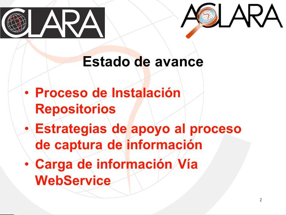 2 Estado de avance Proceso de Instalación Repositorios Estrategias de apoyo al proceso de captura de información Carga de información Vía WebService