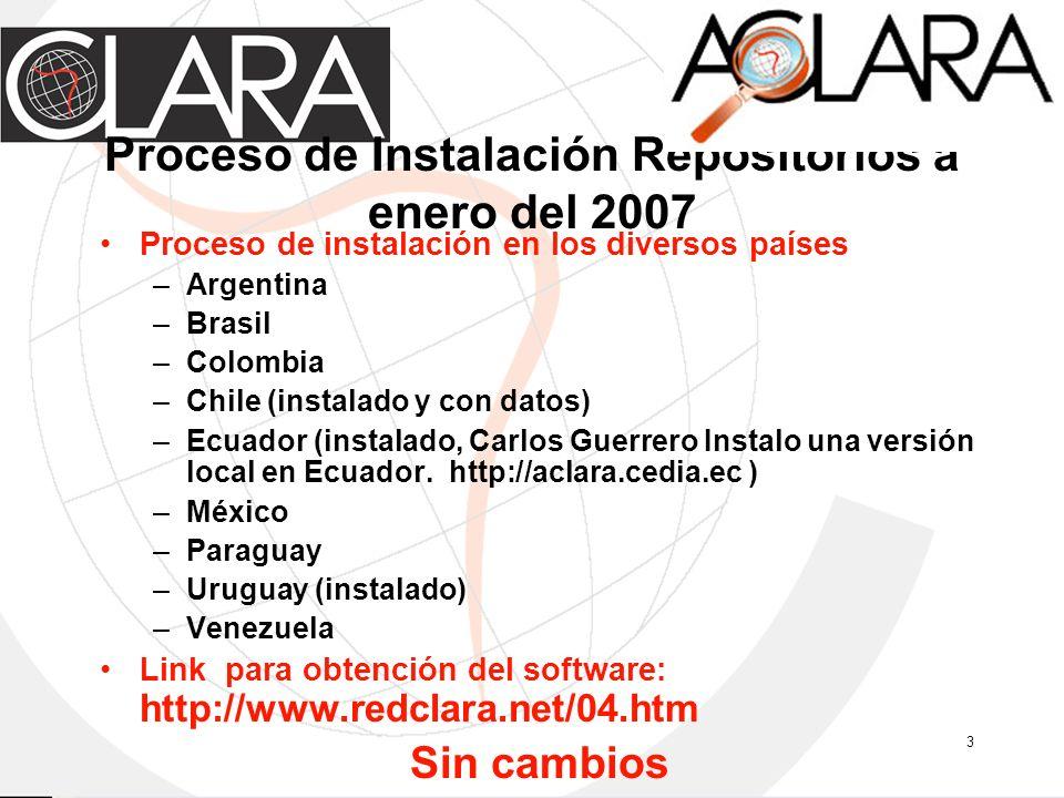 3 Proceso de Instalación Repositorios a enero del 2007 Proceso de instalación en los diversos países –Argentina –Brasil –Colombia –Chile (instalado y