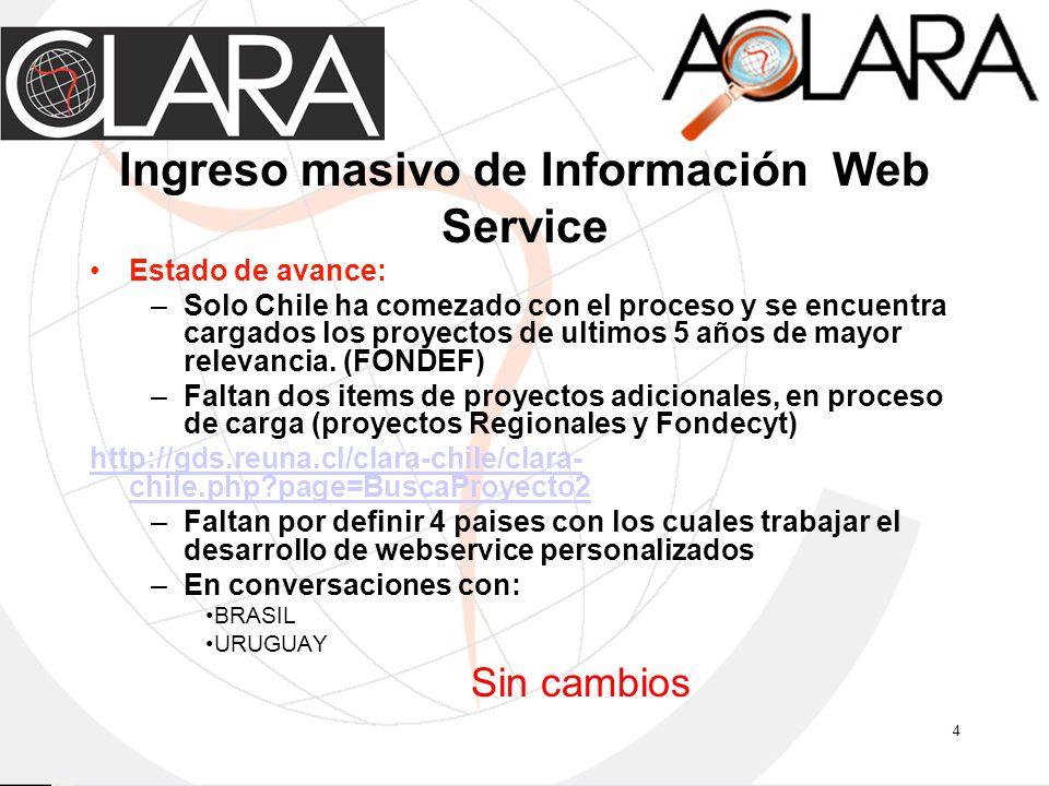 4 Ingreso masivo de Información Web Service Estado de avance: –Solo Chile ha comezado con el proceso y se encuentra cargados los proyectos de ultimos 5 años de mayor relevancia.