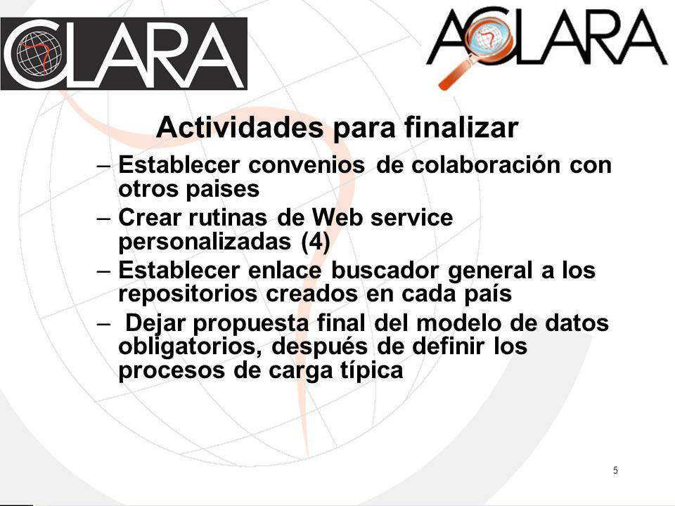 5 Actividades para finalizar –Establecer convenios de colaboración con otros paises –Crear rutinas de Web service personalizadas (4) –Establecer enlac
