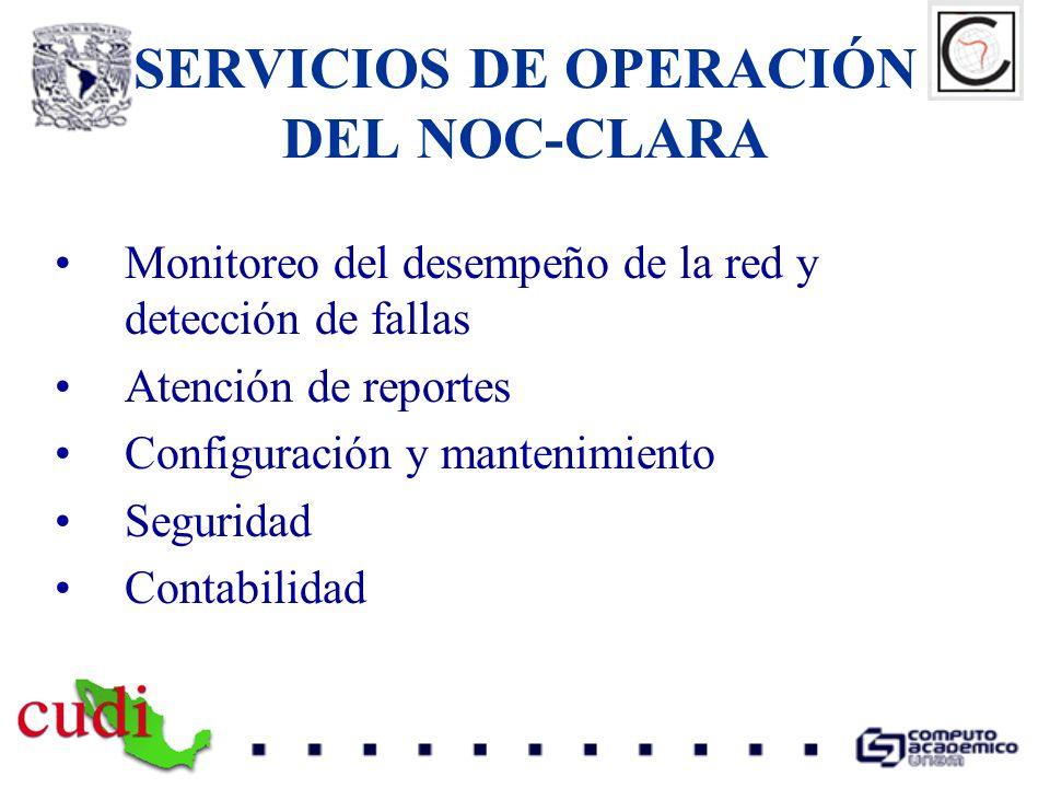 SERVICIOS DE OPERACIÓN DEL NOC-CLARA Monitoreo del desempeño de la red y detección de fallas Atención de reportes Configuración y mantenimiento Seguri
