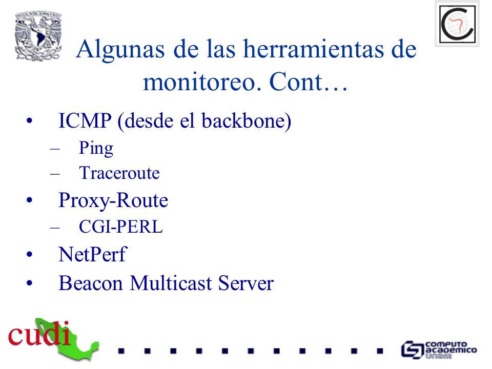 Algunas de las herramientas de monitoreo. Cont… ICMP (desde el backbone) –Ping –Traceroute Proxy-Route –CGI-PERL NetPerf Beacon Multicast Server