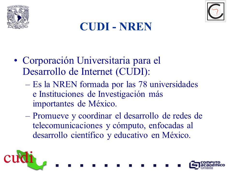 Corporación Universitaria para el Desarrollo de Internet (CUDI): –Es la NREN formada por las 78 universidades e Instituciones de Investigación más imp