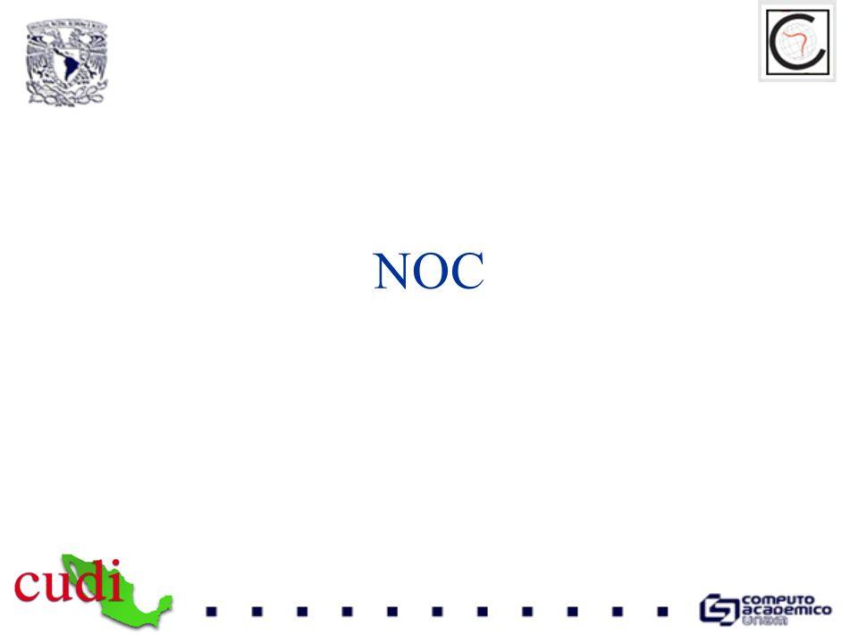 NOC Objetivo El NOC-CLARA es el grupo encargado de la administración, control, monitoreo y operación de toda la infraestructura física y lógica que conforma la dorsal (backbone) de la red CLARA asegurando la disponibilidad, los niveles de desempeño y el óptimo funcionamiento de la red y sus interconexiones.