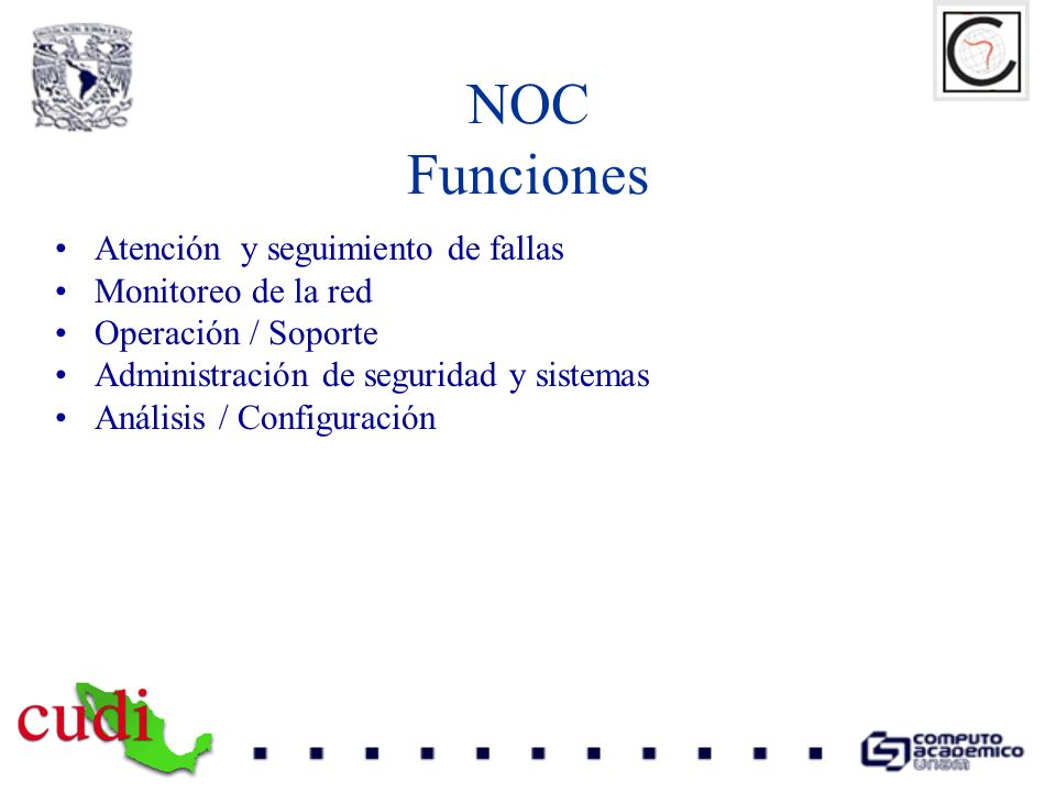 Elementos de la red CLARA Clara Pop Universidad NOC-CLARA NOC-NREN LA-NREN Servers NOC-Universidad BACKBONE