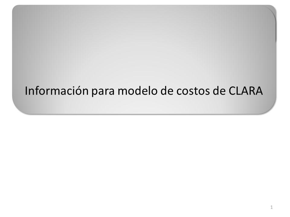 Información para modelo de costos de CLARA 1