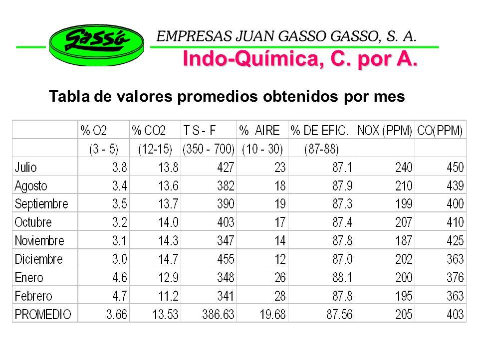 Tabla de valores promedios obtenidos por mes Indo-Química, C. por A.