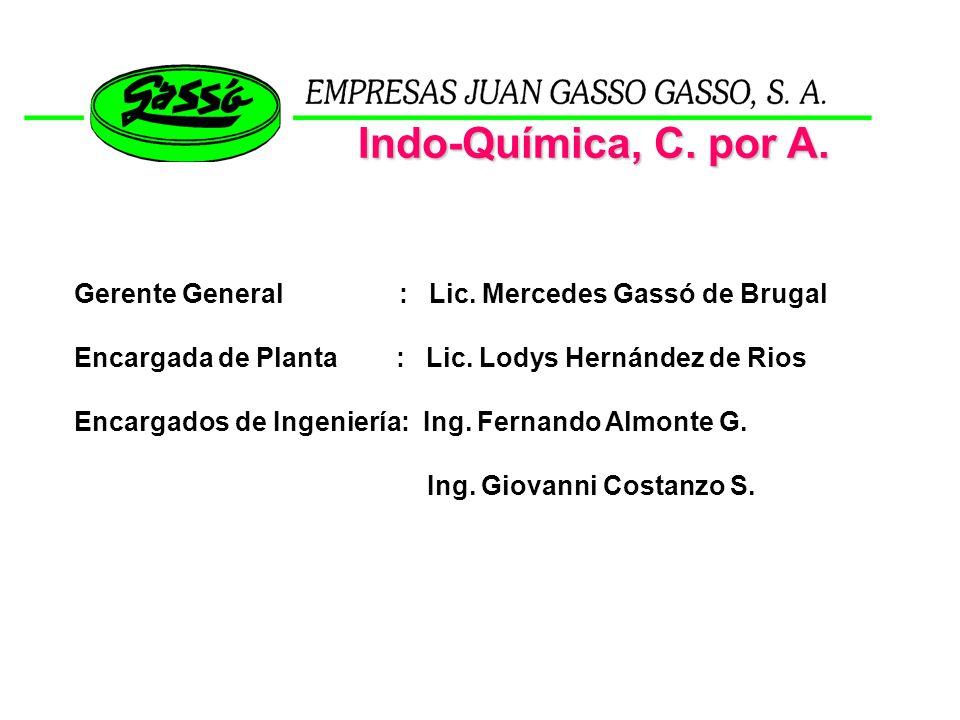 Gerente General : Lic. Mercedes Gassó de Brugal Encargada de Planta : Lic. Lodys Hernández de Rios Encargados de Ingeniería: Ing. Fernando Almonte G.