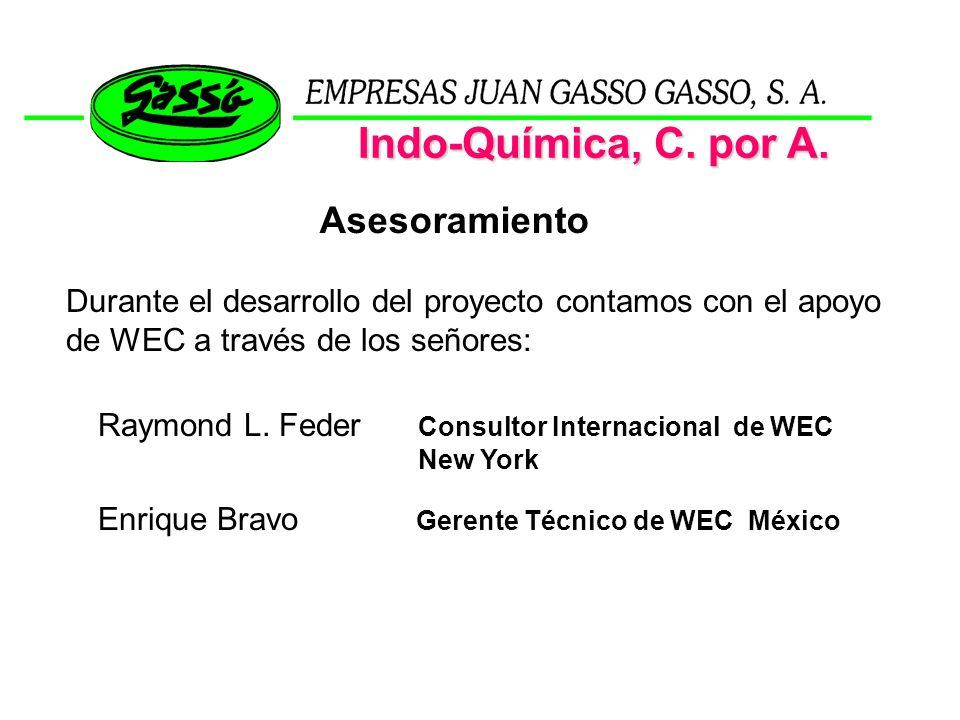 Raymond L. Feder Consultor Internacional de WEC New York Enrique Bravo Gerente Técnico de WEC México Indo-Química, C. por A. Asesoramiento Durante el
