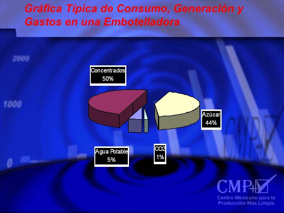 Gráfica Típica de Consumo, Generación y Gastos en una Embotelladora