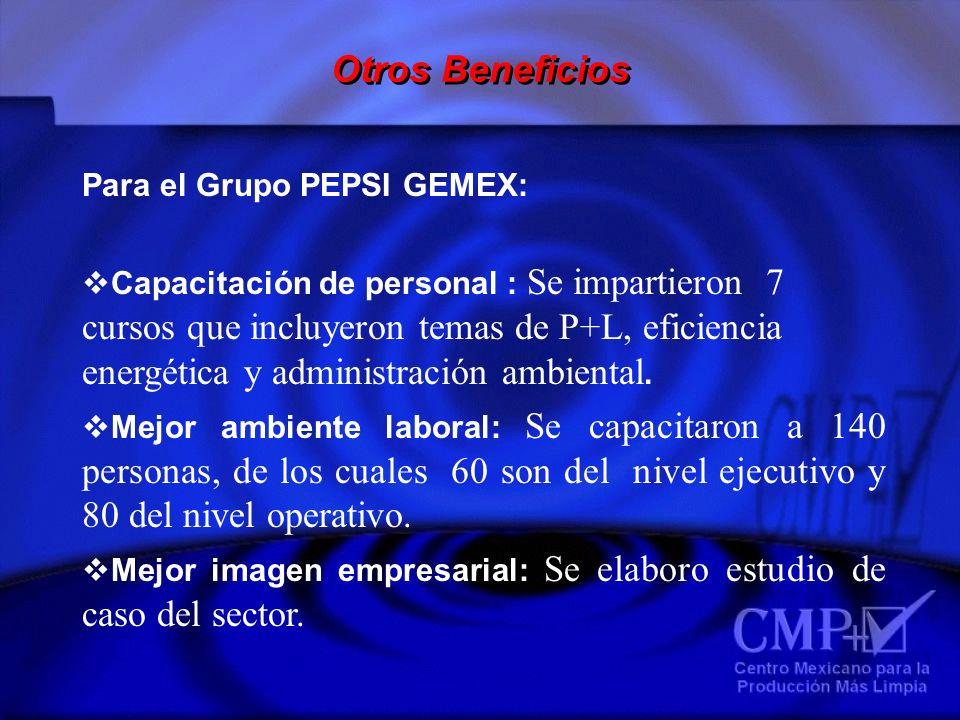 Para el Grupo PEPSI GEMEX: Capacitación de personal : Se impartieron 7 cursos que incluyeron temas de P+L, eficiencia energética y administración ambi