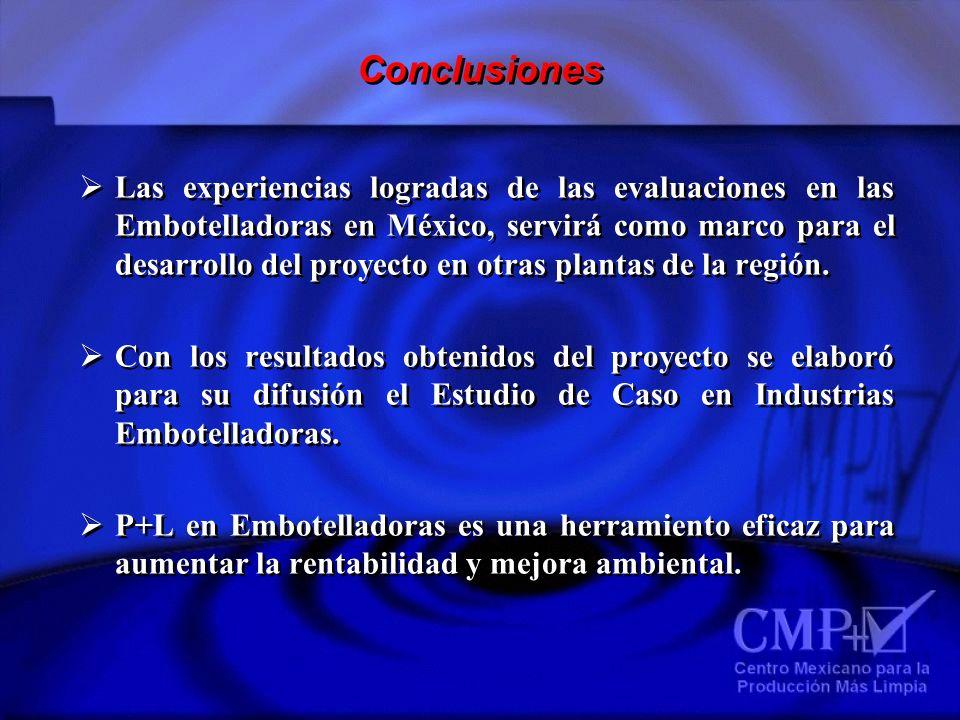 Conclusiones Las experiencias logradas de las evaluaciones en las Embotelladoras en México, servirá como marco para el desarrollo del proyecto en otra