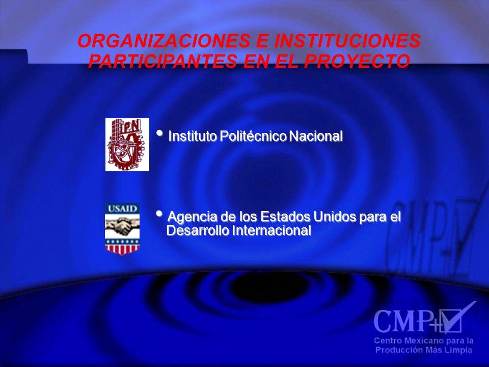 ORGANIZACIONES E INSTITUCIONES PARTICIPANTES EN EL PROYECTO Agencia de los Estados Unidos para el Agencia de los Estados Unidos para el Desarrollo Int