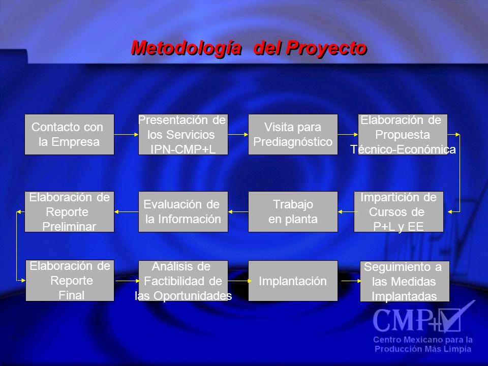 Metodología del Proyecto Contacto con la Empresa Presentación de los Servicios IPN-CMP+L Visita para Prediagnóstico Elaboración de Propuesta Técnico-E