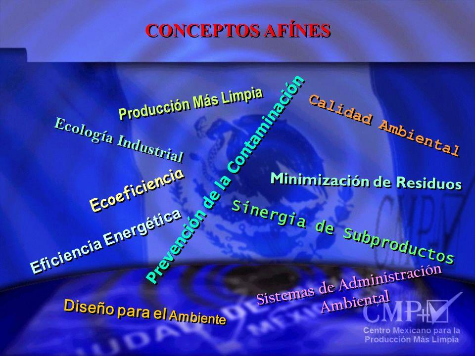CONCEPTOS AFÍNES Producción Más Limpia Ecología Industrial Ecoeficiencia Eficiencia Energética Diseño para el Ambiente Sistemas de Administración Ambi