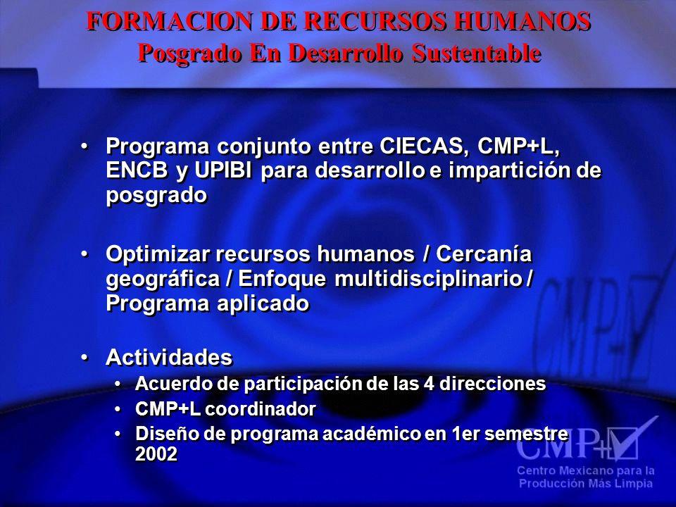 FORMACION DE RECURSOS HUMANOS Posgrado En Desarrollo Sustentable FORMACION DE RECURSOS HUMANOS Posgrado En Desarrollo Sustentable Programa conjunto en